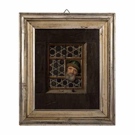 "Monogram mist, 17. Century, ""Mr with a green fur cap on the window"", - photo 2"