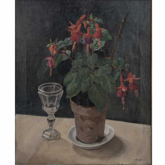 "REGER, H. (painter/in 20. Century), ""still life with fuchsia and Baccarat glass"", - photo 1"