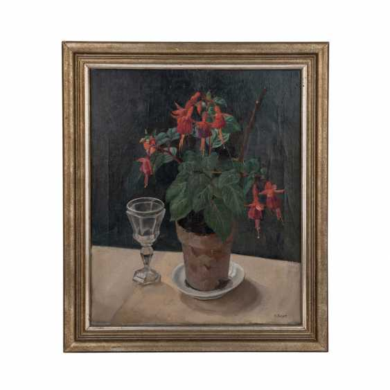 "REGER, H. (painter/in 20. Century), ""still life with fuchsia and Baccarat glass"", - photo 2"
