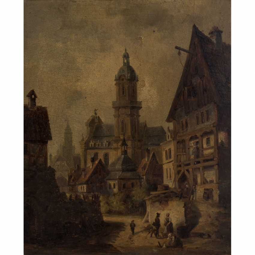 """PAINTER/IN 19. Century, """"city Veduta with Church and half-timbered house"""", Old Heilbronn, Kilianskirche, - photo 1"""