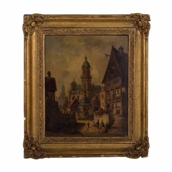 """PAINTER/IN 19. Century, """"city Veduta with Church and half-timbered house"""", Old Heilbronn, Kilianskirche, - photo 2"""