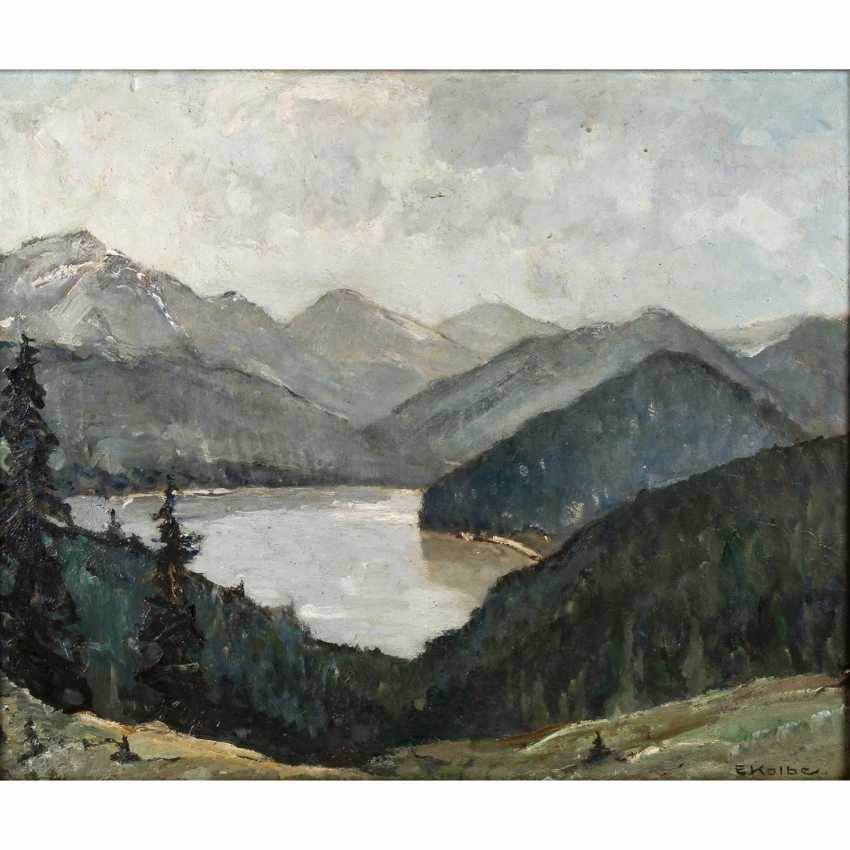 """KOLBE, ERNST (Marie Werder 1876-1945 Rathenow), """"lake in the high mountains"""", - photo 1"""