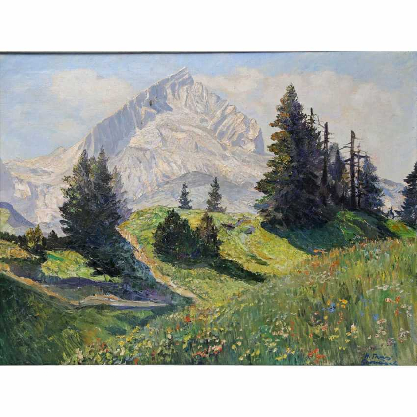 """THEIS, HEINZ (1894-1966, German painter active in Garmisch-Partenkirchen), """"Alpspitze in Garmisch"""", - photo 1"""