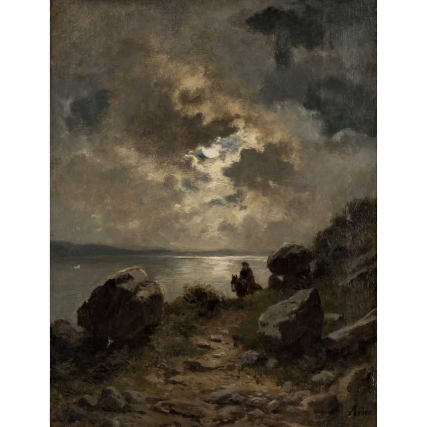 """LIER, ADOLF HEINRICH (1826-1882), """"rider in a landscape"""" - photo 1"""