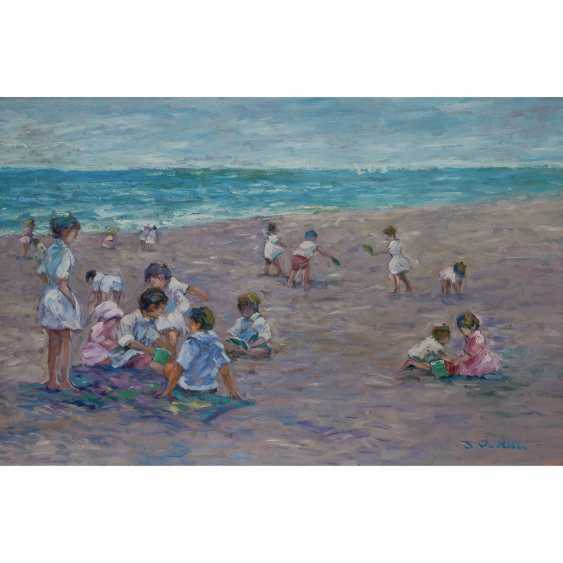 """DEVEAU, JACQUES (geb. 1937), """"children playing on the beach"""" - photo 1"""