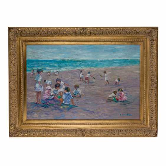 """DEVEAU, JACQUES (geb. 1937), """"children playing on the beach"""" - photo 2"""