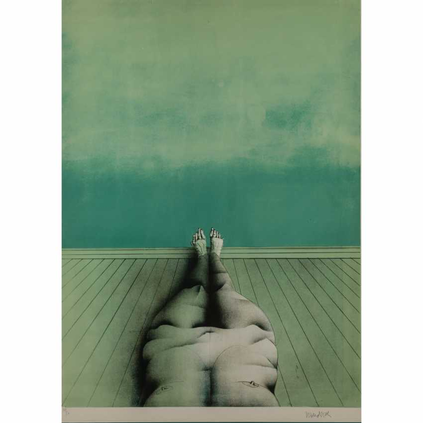 """WUNDERLICH, PAUL (1927 - 2010), """"Reclining female Nude in a green room"""", - photo 1"""
