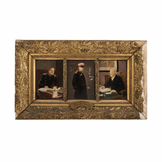 """1870/71 - group of triptych """"The old course"""" with Moltke, - photo 5"""