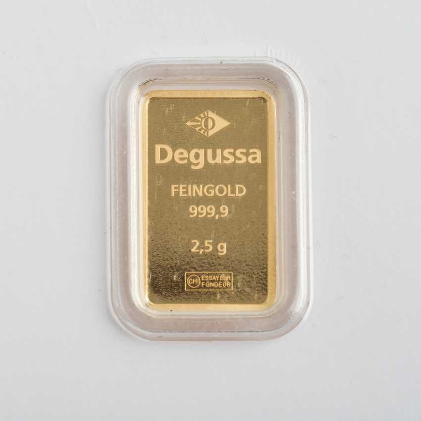 Gold ingot shaped ingot - 2.5 g of the GOLD fine, gold, Degussa, - photo 2