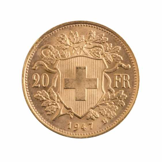Switzerland GOLD 20 francs Vreneli 1947 B, - photo 2