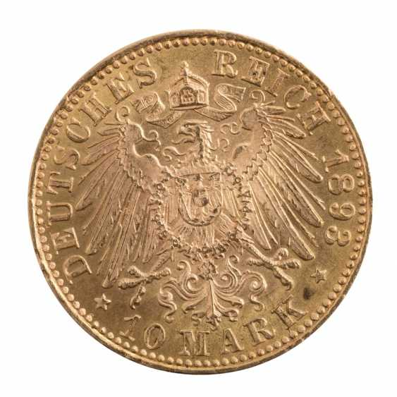 Württemberg/GOLD - 10 Mark 1893 F, - photo 2