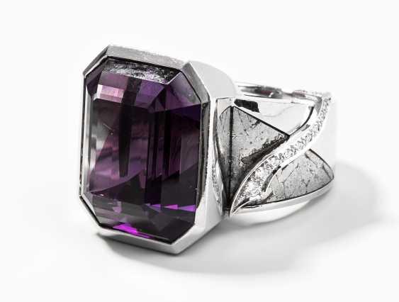 Amethyst-Meteorit-Brillant-Ring - photo 1