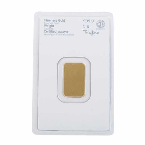 GOLD bar 5 g, HERAEUS, - photo 2