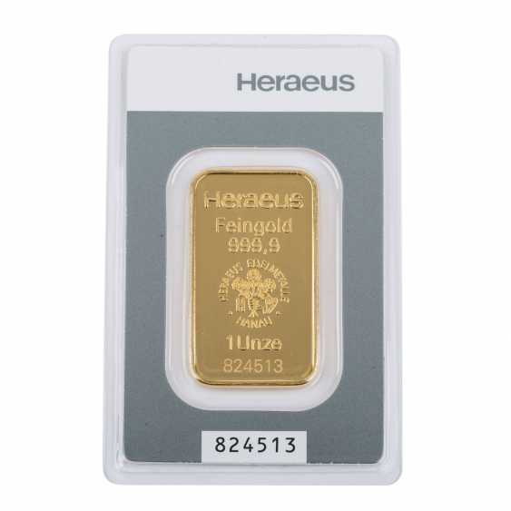 GOLDBARREN 1 Unze, HERAEUS, - Foto 1