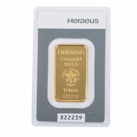Gold bullion 1 ounce, HERAEUS, - photo 1