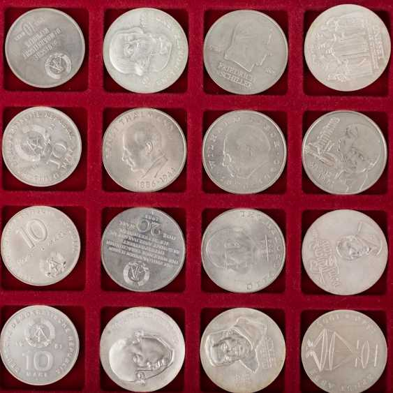 DDR - collection of 20, 10 and 5 Mark commemorative coins, - photo 6