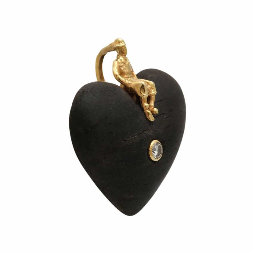 Heart pendant made of wood with brilliant - photo 2