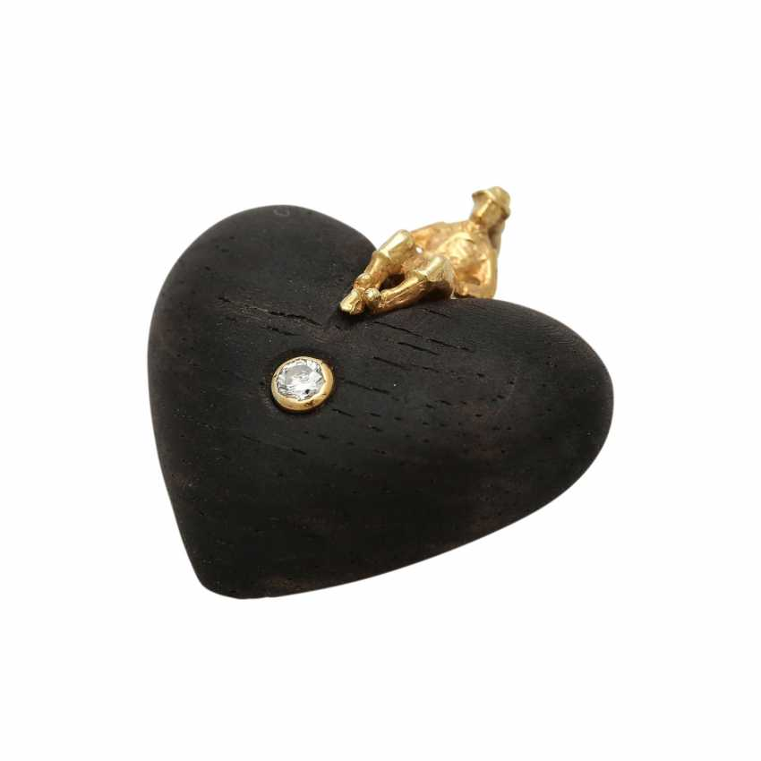 Heart pendant made of wood with brilliant - photo 3