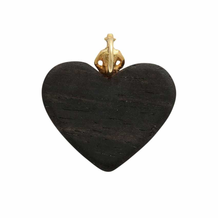 Heart pendant made of wood with brilliant - photo 4