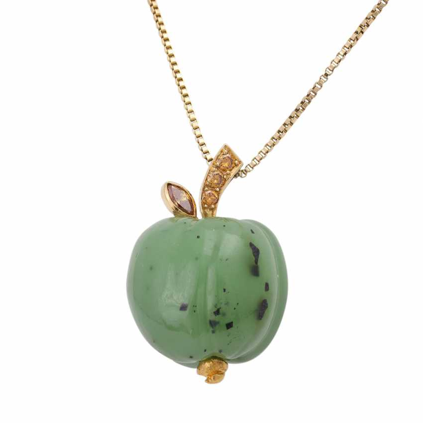 Necklace with nephrite jade pendant is in Apple shape, - photo 1