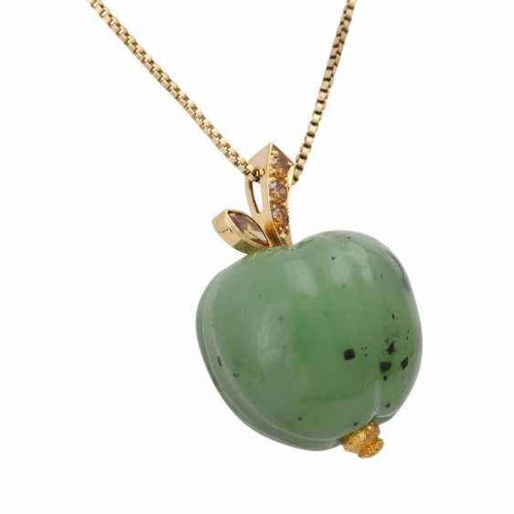 Necklace with nephrite jade pendant is in Apple shape, - photo 2
