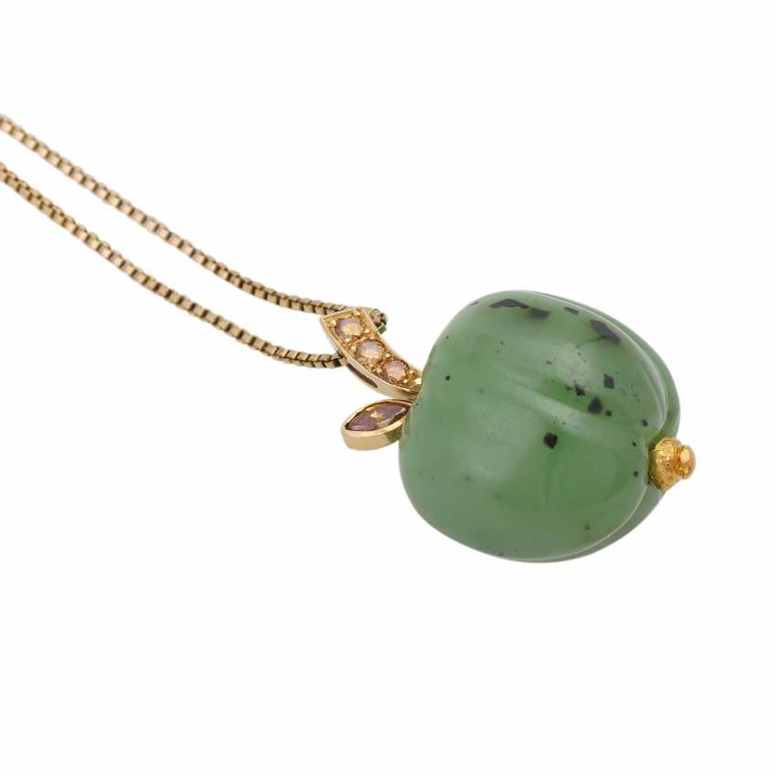 Necklace with nephrite jade pendant is in Apple shape, - photo 3
