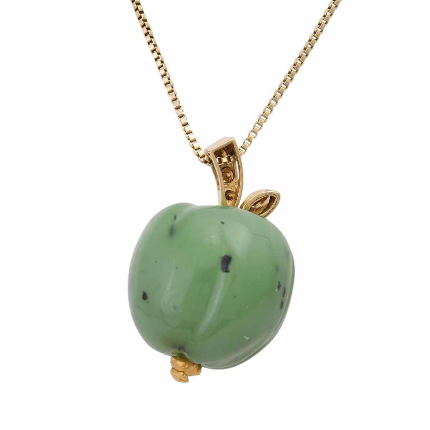 Necklace with nephrite jade pendant is in Apple shape, - photo 5