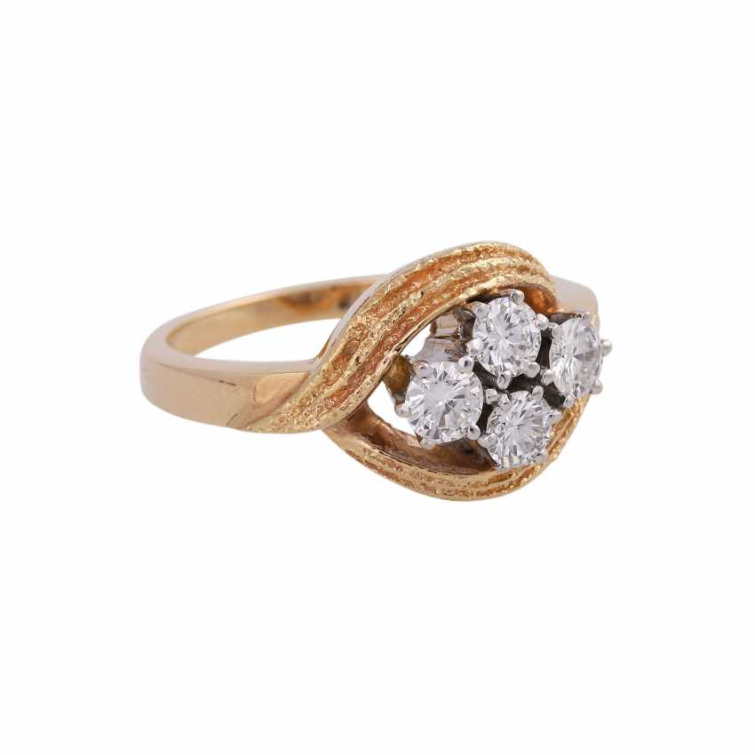 LAUDIER Ring with 4 brilliant-cut diamonds approx 0,72 ct, - photo 2