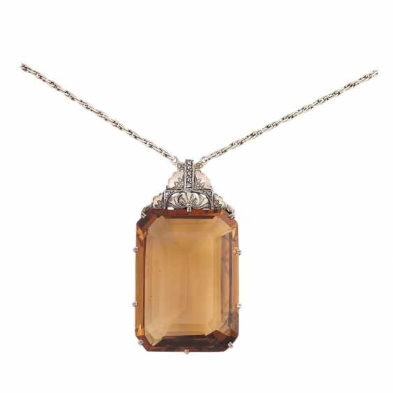 Art Deco necklace with a large citrine - photo 1