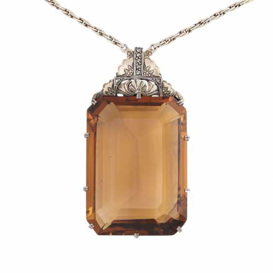 Art Deco necklace with a large citrine - photo 2