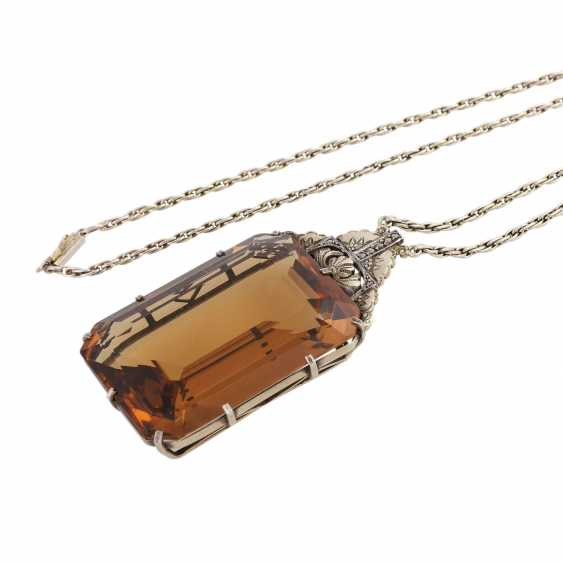 Art Deco necklace with a large citrine - photo 4