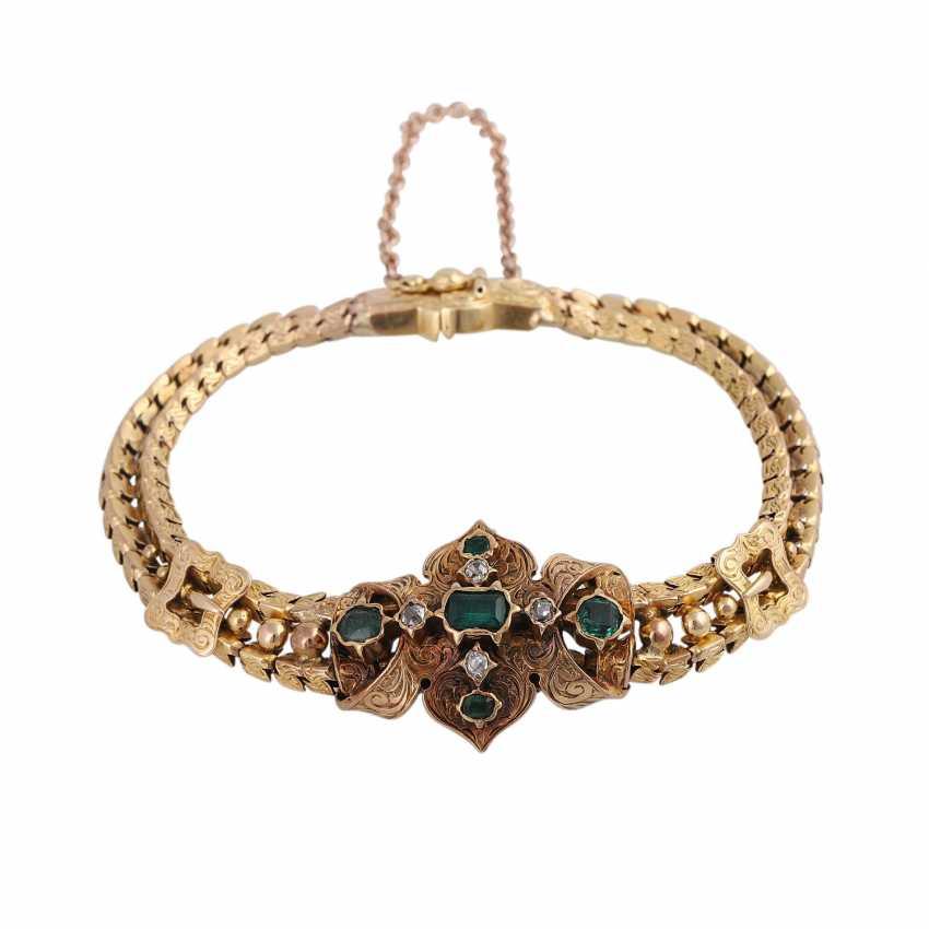 Biedermeier bracelet with emeralds and old European cut diamonds - photo 1
