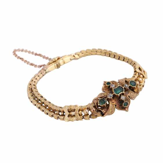 Biedermeier bracelet with emeralds and old European cut diamonds - photo 2
