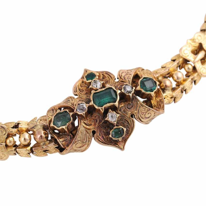 Biedermeier bracelet with emeralds and old European cut diamonds - photo 4