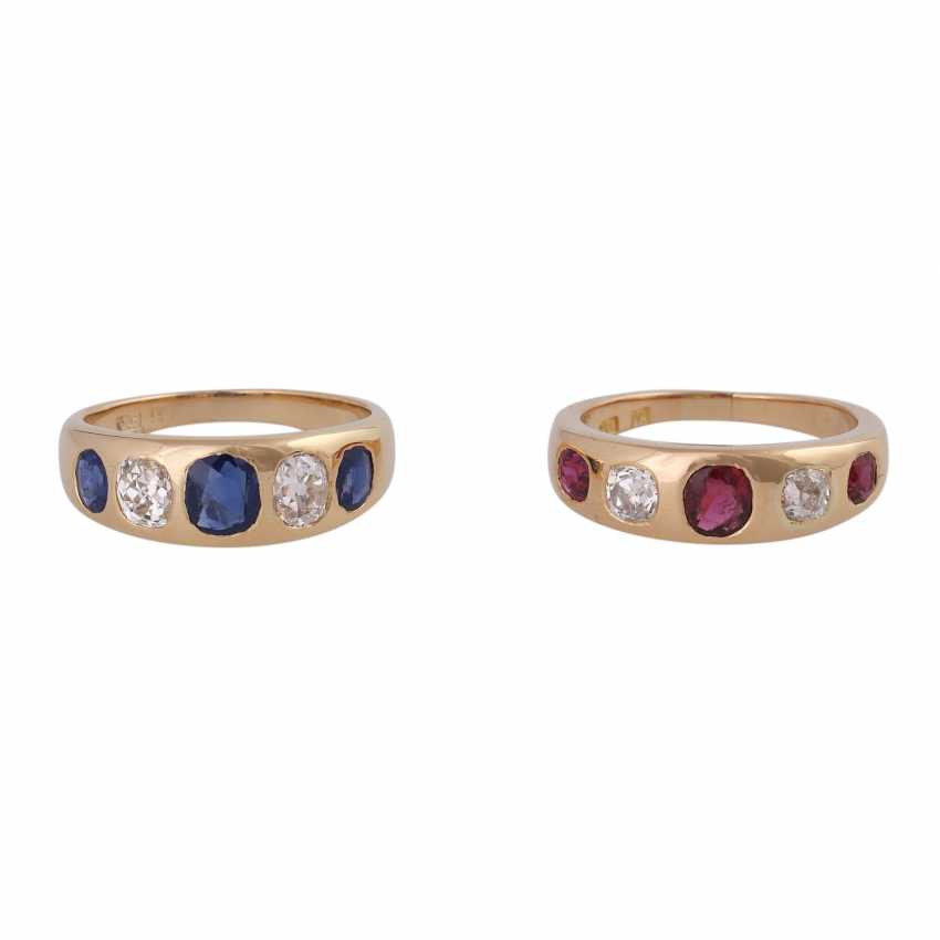 2 band rings with sapphires, rubies and old European cut diamonds - photo 1