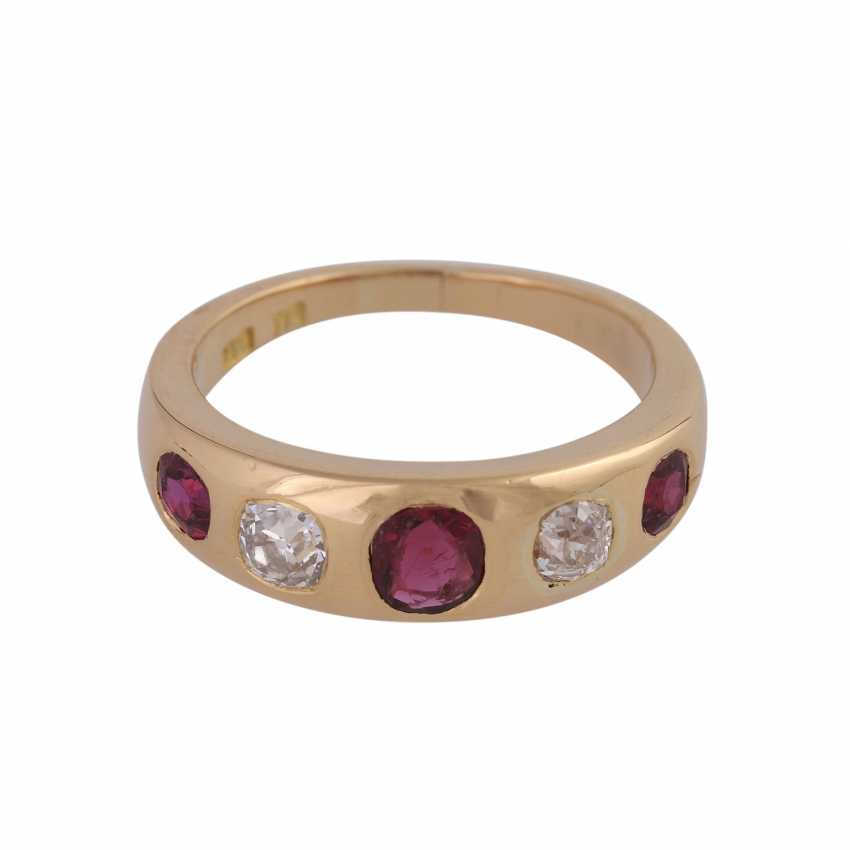 2 band rings with sapphires, rubies and old European cut diamonds - photo 3