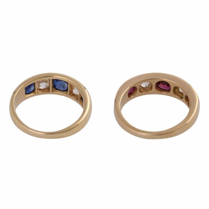 2 band rings with sapphires, rubies and old European cut diamonds - photo 4