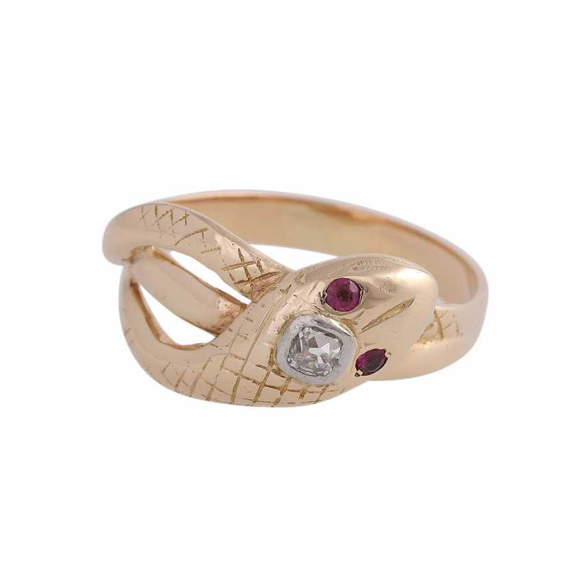 Snake ring with 1 diamond approx 0,12 ct, - photo 1