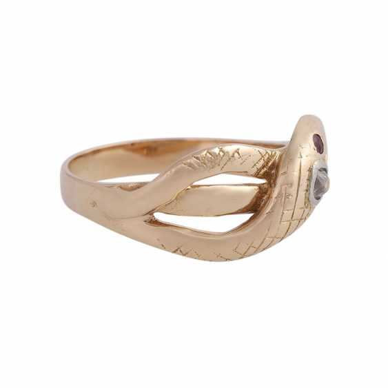 Snake ring with 1 diamond approx 0,12 ct, - photo 2