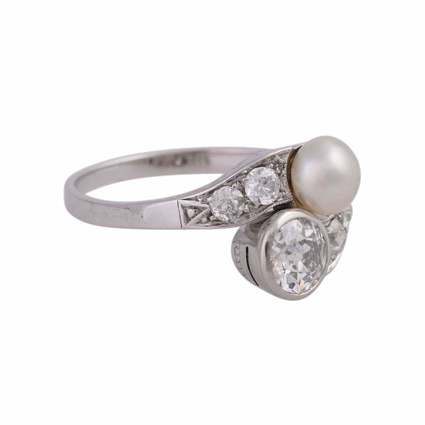 Art Deco Ring with pearl and old European cut diamonds - photo 2