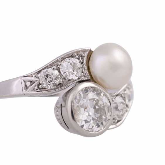 Art Deco Ring with pearl and old European cut diamonds - photo 5