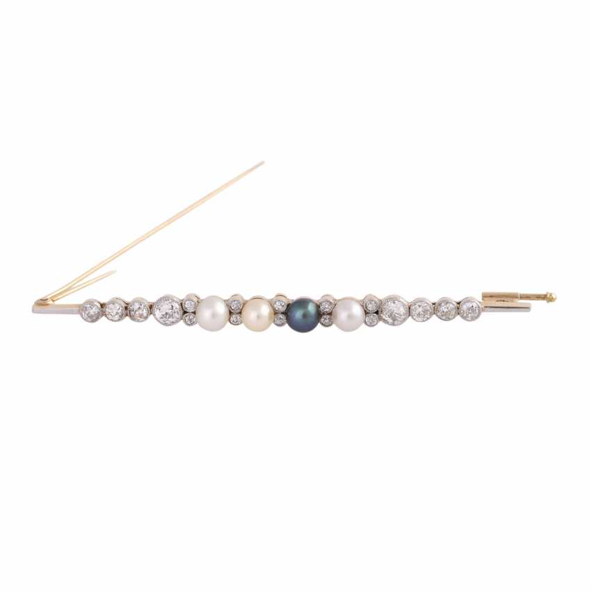 Bar brooch with 4 seed pearls and old European cut diamonds - photo 1