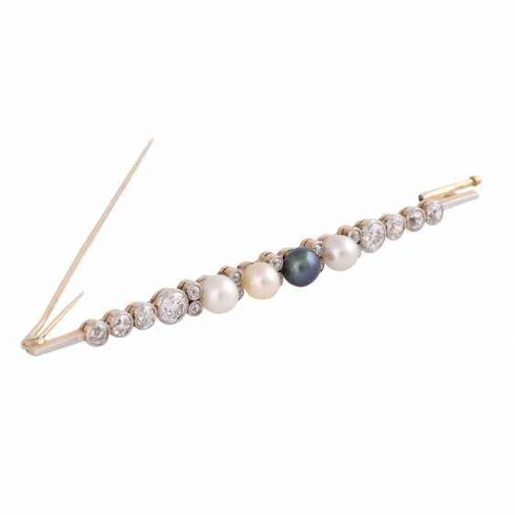 Bar brooch with 4 seed pearls and old European cut diamonds - photo 2