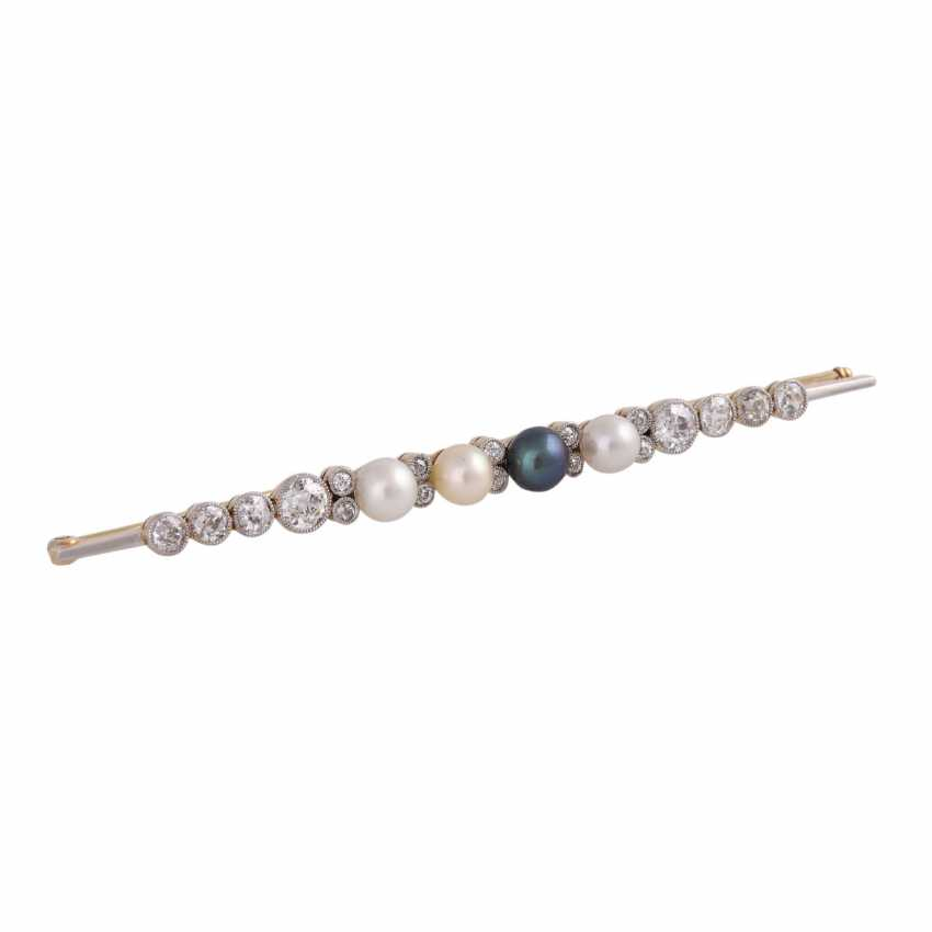 Bar brooch with 4 seed pearls and old European cut diamonds - photo 3