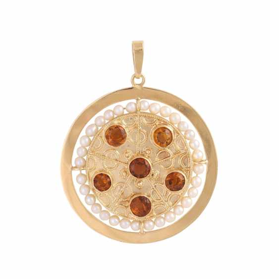 Pendant with citrines and white pearls - photo 1