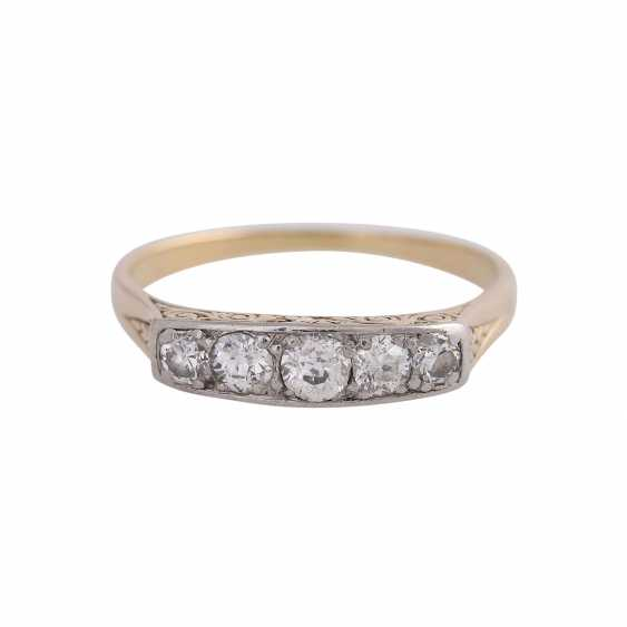 Band ring with 5 old European cut diamonds, together CA. 0,38 ct, - photo 1