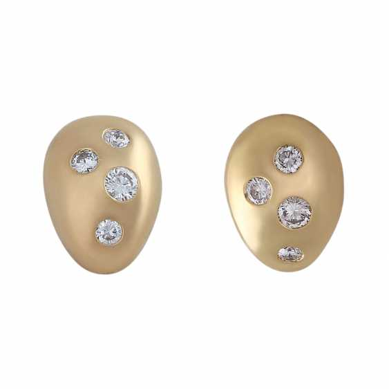 Stud earrings with 8 diamonds, approx 0.2 ct, in WHITE (H)/VVSI, - photo 1