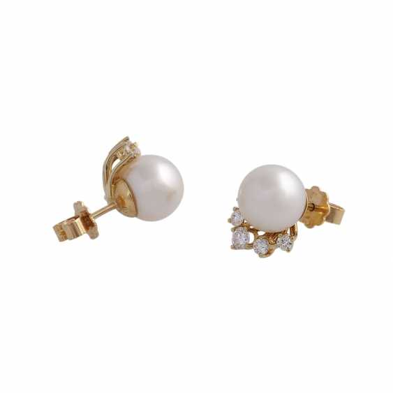 Stud earrings with 1 ultra-fine pearl, D: approximately 9.3 mm - photo 3