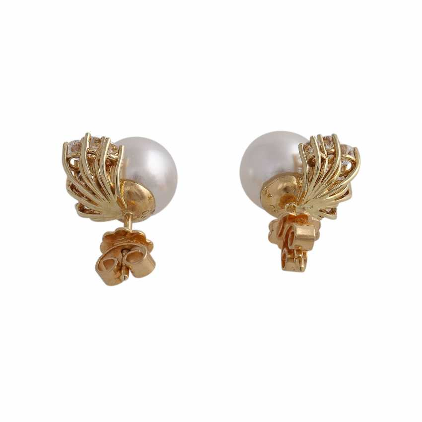 Stud earrings with 1 ultra-fine pearl, D: approximately 9.3 mm - photo 4