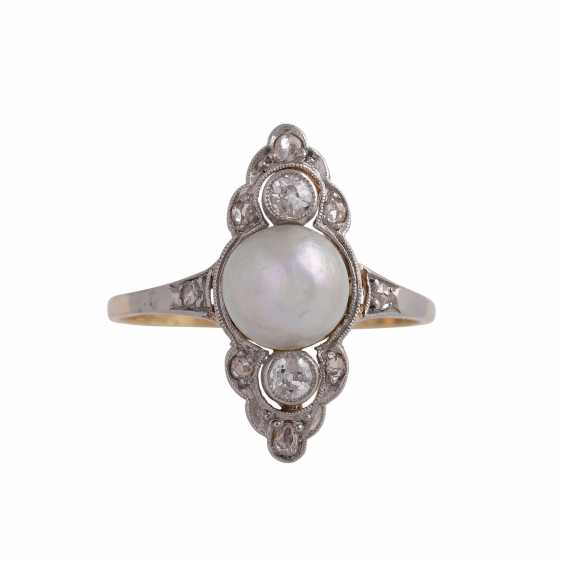 Ring with cultured pearl approx 6,5 mm and diamonds - photo 1